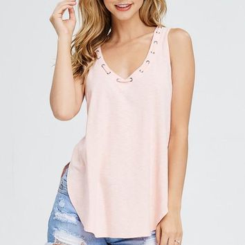 The Lucy Vneck Tank - Peach