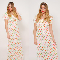 Vintage 70s FLORAL Maxi Dress Cream Boho PRAIRIE Dress PUFF Sleeve Hippie Dress