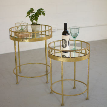 Set of 2 Round Accent Tables with Mirror Tops-Gold Finish