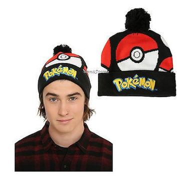 Licensed cool Pokemon GO Pokeball Embroidered Knit Fold Over Pom adult Beanie Hat Nintendo NEW
