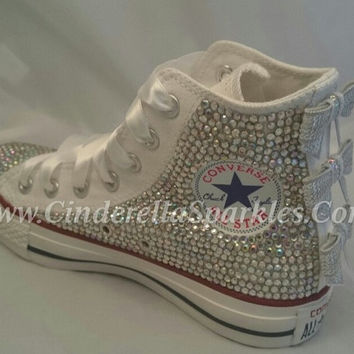 White Chuck Taylor High Top Crystal Rhinestone Converse with sequin Bows, Wedding, Bridal Batmizah Shoes