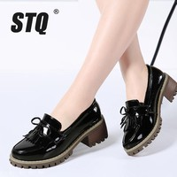 STQ 2017 Autumn women oxfords shoes women Patent Leather slip-on high heel fringe bow dress boat shoes pointed toe pumps 985