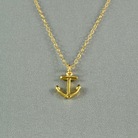 Tiny Anchor Necklace, 18K Gold Vermeil, 14K Gold Filled Chain, Modern, Simple, Everyday Wear Jewelry