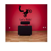 Dirt Bike Let's Ride! Wall Decal