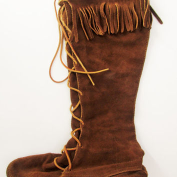 Vintage Tall Suede Fringe Minnetonka Moccasin Boots Sz 7