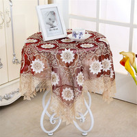 [WIT] 85*85cm Embroidery 3D Table Cloth Banquet Embossment Table Cloths Gauze Coffee Table Cover European Dinning Table Clothes
