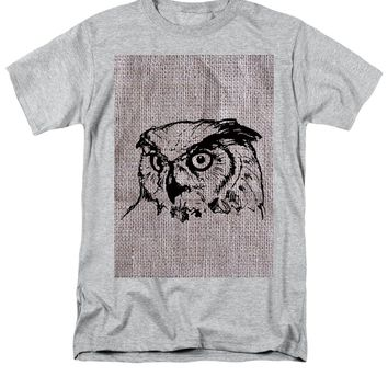Owl On Burlap - Men's T-Shirt  (Regular Fit)
