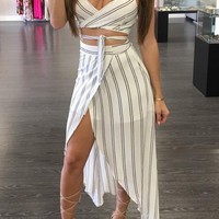 White Striped Cross Back Backless Irregular Two-Piece Holiday Maxi Dress