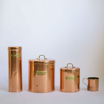 Vintage Copper Canister Set