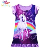 Belababy Baby Girl Dress 2018 Summer O-Neck Sleeveless Casual Unicorn Beach Princess  Birthday Party Dresses For Girl