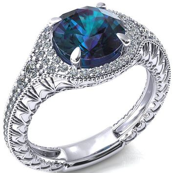 Kylee Round Alexandrite Accent Diamond Milgrain and Filigree Design 4 Prong Engagement Ring