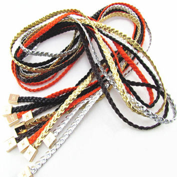 2016 Korean All-match Cintos Fashion PU Leather Braided Belt Beading Waist Rope Alloy Hanging Tablets Waist Belts For Women