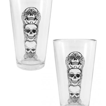 """No Evil"" Pint Glass by Inked (2 Glass Set)"
