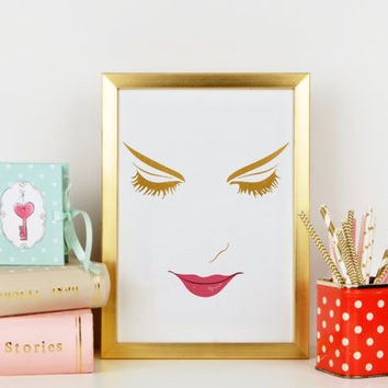 Gold Face,Wake Up And Makeup,Makeup Print,Eyebrows,Eyeliner,Lips,Gift For Her,Gift For Girlfriend,Bathroom Print,Makeup Art