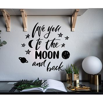Vinyl Wall Decal Romantic Phrase Love You To The Moon Stars Bedroom Decor Stickers Mural 22.5 in x 21.5 in gz191