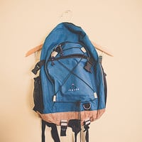 Vintage 90's Backpack Blue  with leather bottom Zipper Back Pack with Leather Cover RuckSack Hiking Seattle Style Portland Style In Gear