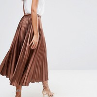 ASOS TALL Midi Skirt in Pleated Satin