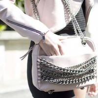 ZARA PINK REAL LEATHER CITY BAG PURSE WITH CHAIN MAIL HANDLE REF 4065/304