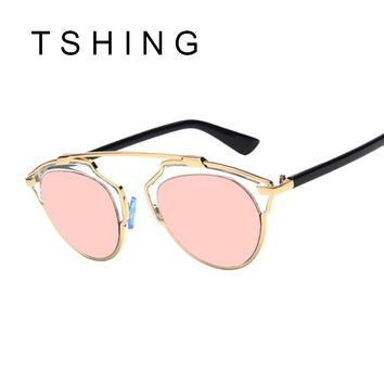TSHING Classic Rose Gold Cat Eye Sunglasses Women Brand Designer Fashion Summer Cateye Pink Mirror Sun Glasses For Female