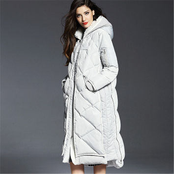Europe And America Women 2015 Winter X-Long A-Line Plus Size Hooded Thick White Duck Downs Coats Female Jackets Parka LJ3116