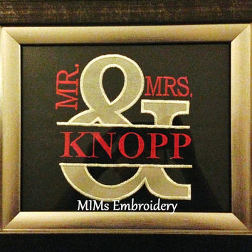 Mr and Mrs Decorative Embroidery Customize with Last Name Wedding Gift Picture Wall Decor Art Unique Ampersand Shower Frame