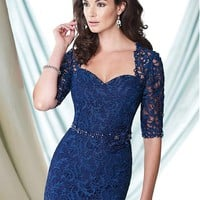 [169.99] Elegant Lace & Satin Queen Anne Neckline Sheath Mother of the Bride Dresses With Rhinestones - dressilyme.com