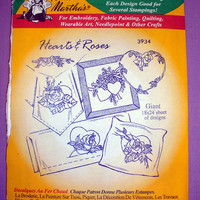 "Aunt Martha's ""Hearts & Roses"" Hot Iron Transfer Pattern 3934 for Embroidery, Fabric Painting, Needle Crafts"