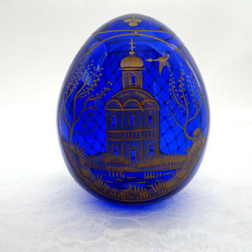 Vintage St. Petersburg Faberge Style Hand Blown Cobalt Blue Large Russian Cut Class Egg With Gold Etching, Home Office Decor