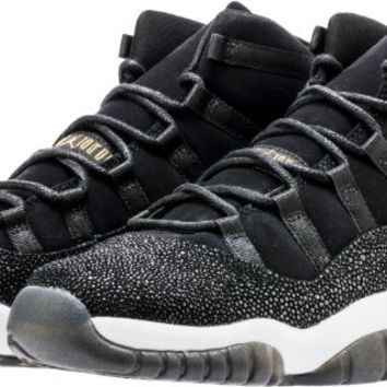 AIR JORDAN RETRO 11 HEIRESS BLACK STINGRAY GRADE SCHOOL LIFESTYLE SHOE (BLACK/METALLIC GOLD/WHITE)