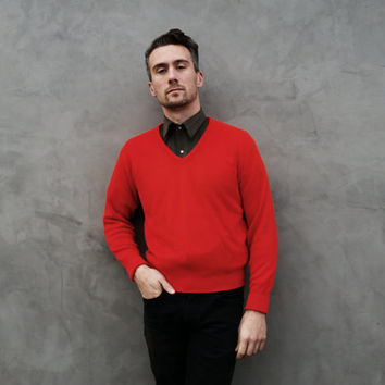 Vintage Red V Neck Mens Sweater, Christmas Sweater