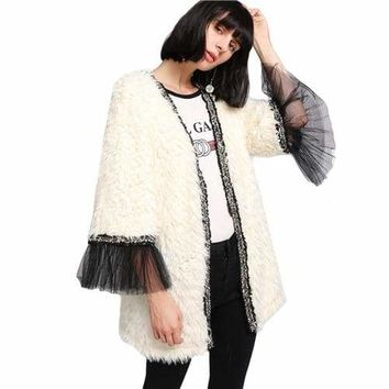 Ivory Faux Faux Fur Tull Sleeve Jacket