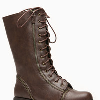 Brown Faux Leather Zip Me up Calf Length Combat Boot