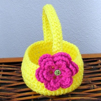 Spring Basket with Flower Crochet Pattern PDF