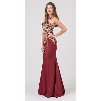 Burgundy Embroidered Mermaid Long Prom Dress Racer Back