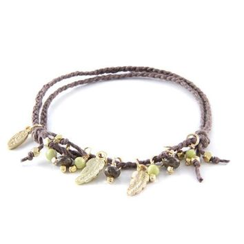 Walk This Way Brown Anklet with Feather Charm