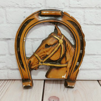 Vintage Chalkware Horse Wall Hanging Horseshoe Good Luck Equestrian