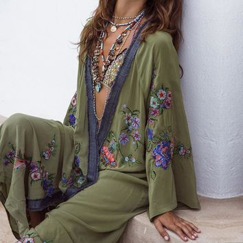 Summer Floral Embroidered Beach Maxi Dress Bishop Long Sleeve For Women Vintage Boho Chic Style Loose Cover up Long Dresses