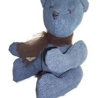 Denim Teddy Bear made from upcycled jeans - Blue Bear number 1