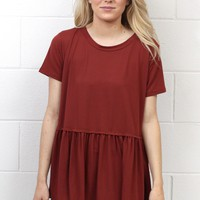 Cutest Suedette Relaxed Peplum Ever {Marsala} EXTENDED SIZES