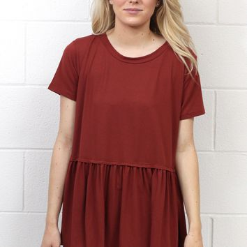 Cutest Suedette Relaxed Peplum Ever {Marsala}