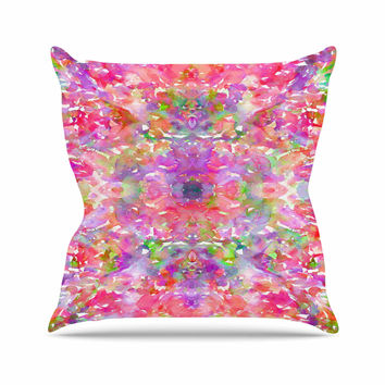 """Ebi Emporium """"Jewel In The Crown, Coral """" Pink Purple Throw Pillow"""
