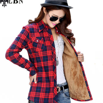 Winter Women Shirt Plaid Thickness Blouses Vintage Long Sleeve Ladies Shirts Casual Top Blusas 100% Cotton Europ Style Clothing