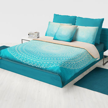 Mandala Duvet Cover or comforter -  complex teal and coral peach geometric boho chic bedding