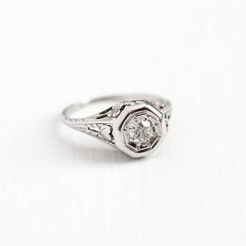 Sale - Antique 18k White Gold Art Deco 1/5 Carat Diamond Ring - Vintage Belais 1920s Size 6 Filigree Flower Heart Fine Engagement Jewelry