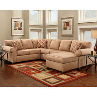 Exceptional Designs Patriot Mocha Microfiber U-Shaped Sectional