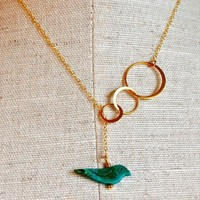 The Bubbles and Turquoise Bird Lariat by verabel on Etsy