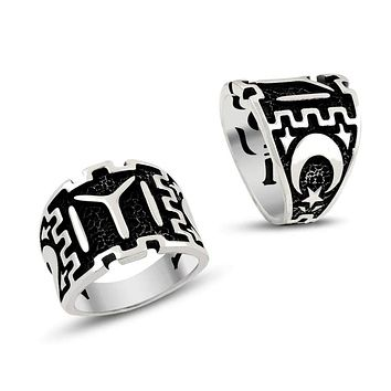 IYI monogram crescent star blacked 925k sterling silver mens band ring