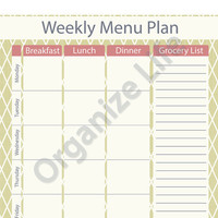 Weekly Menu Planner with Grocery List - Printable PDF