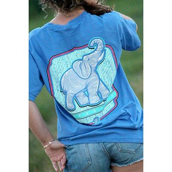 Sassy Frass Trunks Up Elephant Seersucker Comfort Colors Bright T Shirt
