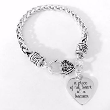 A Piece Of My Heart Is In Heaven Heart Gift In Memory Sympathy Charm Bracelet